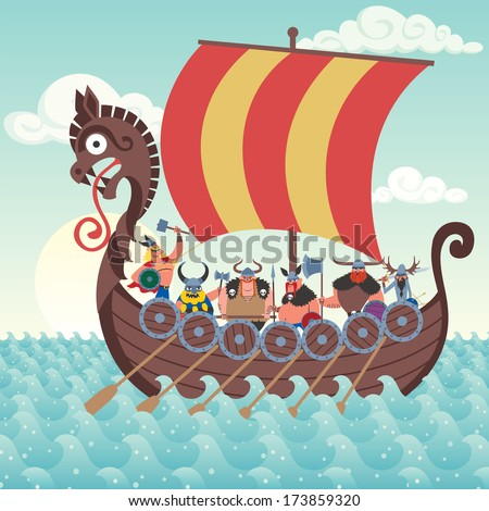 cartoon viking ship sailing
