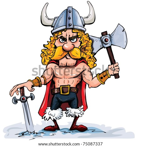Cartoon viking with a big axe. Isolated on white