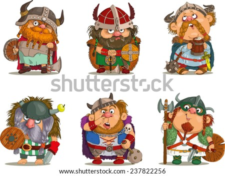 Cartoon vikings Funny cartoon Characters Vikings set Isolated objects Vector