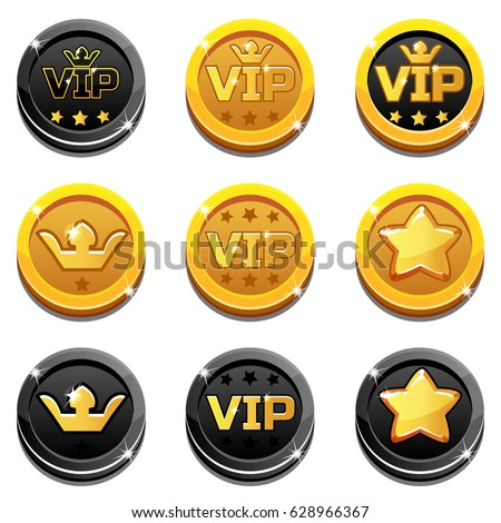 cartoon vip and crown coins in