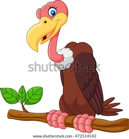 Cartoon Vulture on a tree branch