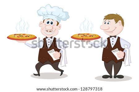 Cartoon waiters deliver a delicious hot pizza to the client, isolated on white background. Vector