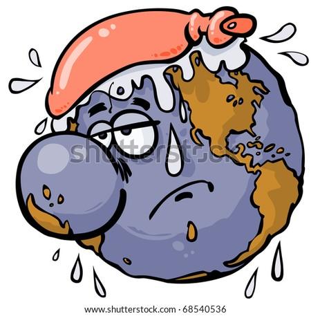 Cartoon warm-up globe.