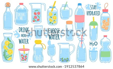 Cartoon water bottles. Detox drinks with lemon and cucumber. Sports and glass bottle and glasses with liquids. Drink more water vector set. Stay hydrated. Jar and cup with straw with liquid