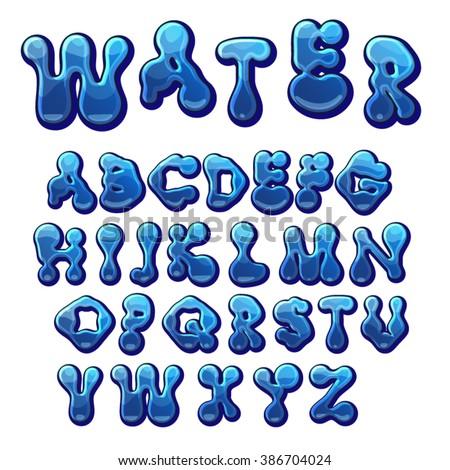 cartoon water drops font  funny