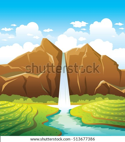 cartoon waterfall with forest