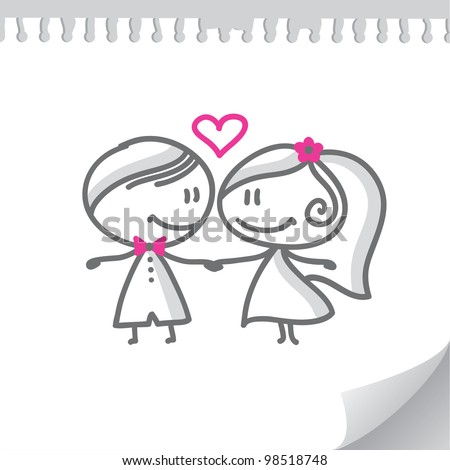 cartoon wedding couple on realistic paper page