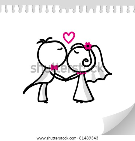 cartoon wedding couple on realistic paper sheet