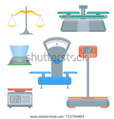 Cartoon Weight Scales Color Icons Set Measurement Service Trade Concept Flat Design Style. Vector illustration of Weighting Equipment