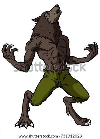 cartoon werewolf howling