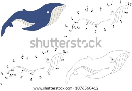 Cartoon whale. Coloring book and dot to dot educational game for kids