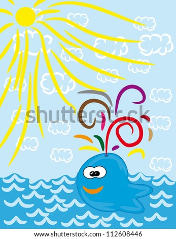 cartoon whale on isolated background. Illustration. - stock vector