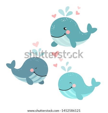 Cartoon whale vector illustration. Three cute whales and pink hearts. Graphic for Valentine`s Day cards.