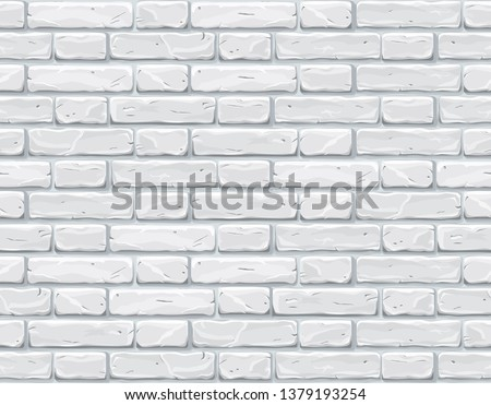 Cartoon white brick wall texture vector illustration