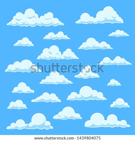 Cartoon white clouds. Blue sky with different cloud shapes. Cute summer cloudscape, cloudy landscape, simplicity nature aerial panorama vector comic book collection