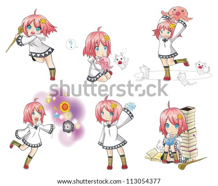 cartoon white magical witch