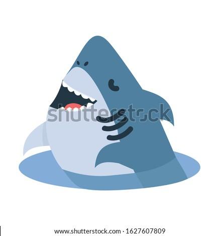 cartoon white shark jump out of