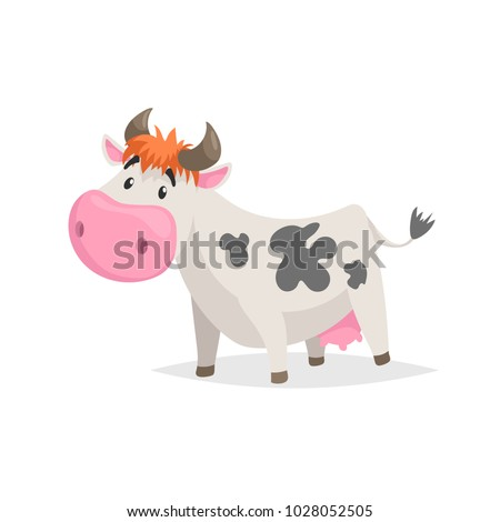 Cartoon white spotted cow. Farm funny animal isolated on white background. Flat trendy style. Vector illustration.