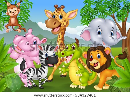 cartoon wild animal in the