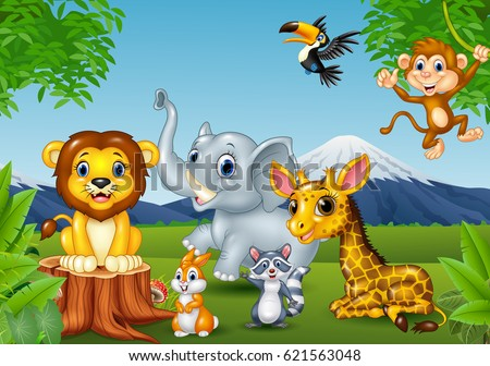 cartoon wild animal in the