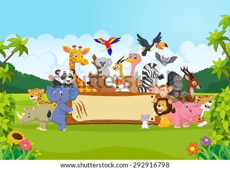 cartoon wild animals holding