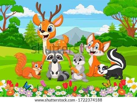 Cartoon wild animals in the jungle Stock photo ©