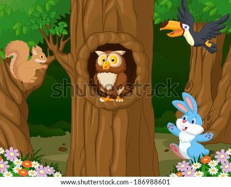 Cartoon wild animals in the jungle Foto stock ©