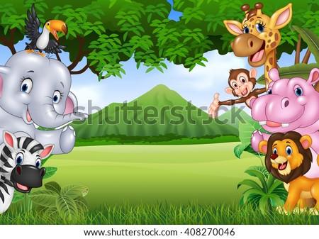 cartoon wild animals with