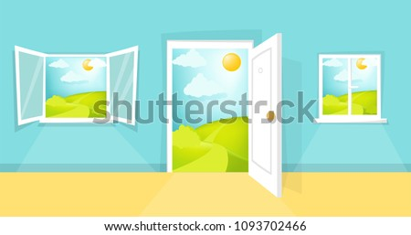 Cartoon window and door view. Sunny day scene. Hill, clouds, sun, windowpane, windowsill, entrance, doorway, door knob. Open, closed window. Eps 10 vector illustration.