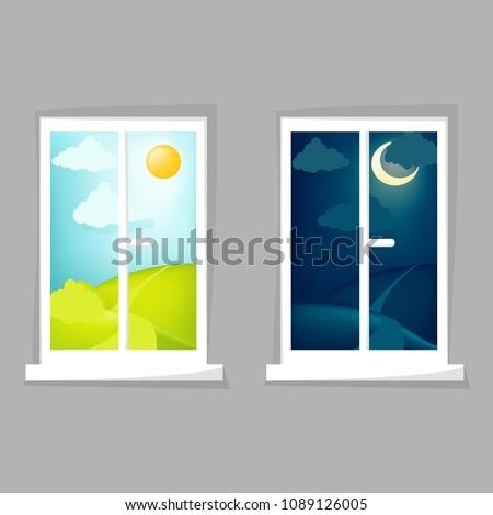 Cartoon window view. Day and night scene. Hill, clouds, sun, moon, windowsill. Eps 10 vector illustration.