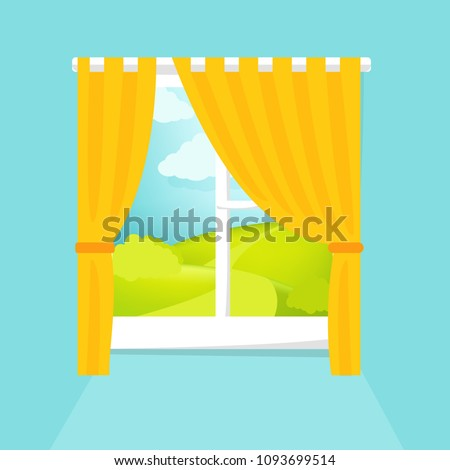 Cartoon window view. Sunny day scene. Hill, clouds, sun, windowsill, curtains. Eps 10 vector illustration.
