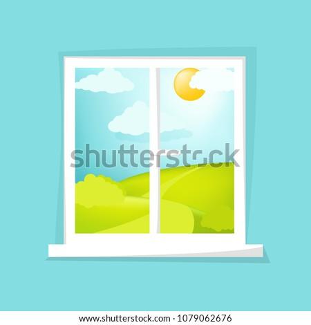 Cartoon window view. Sunny day scene. Hill, clouds, sun, windowsill. Eps 10 vector illustration.