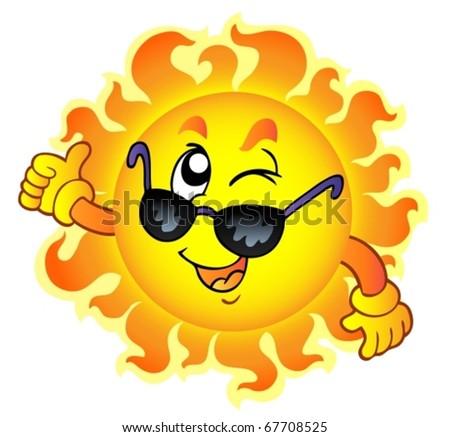 Cartoon winking Sun with sunglasses - vector illustration.