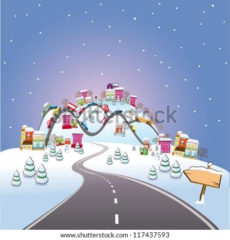Cartoon winter city