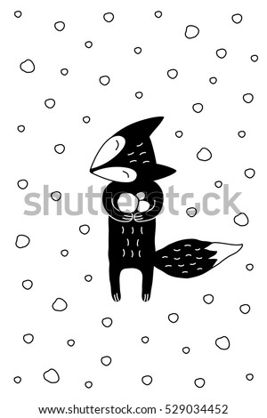 Cartoon winter illustration with little fox enjoying snow. Cute vector black and white winter illustration. Doodle monochrome winter illustration for prints, posters, t-shirts and cards.