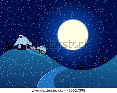 Cartoon winter landscape. Vector illustration