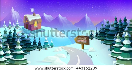 Cartoon winter landscape with ice, snow and cloudy sky. Seamless vector nature background for games.  illustration