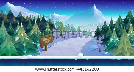 cartoon winter landscape with