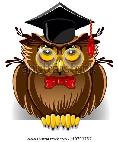 Cartoon Wise Owl In Graduation Cap Stock Vector ...