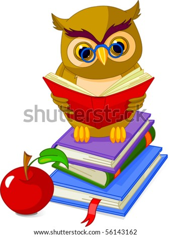 Cartoon wise owl. sitting on Pile book and red apple