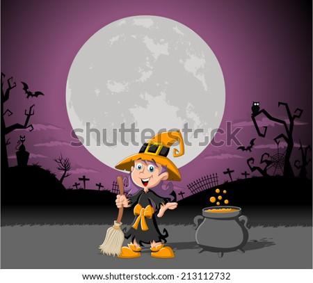 cartoon witch girl on halloween