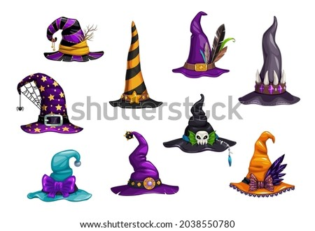 Cartoon witch, magician and wizard hats or caps. Halloween holiday carnival vector hats. Fantasy character, sorcerer or mage costume element with spider web, buckle and bow, feather, gems and teeth