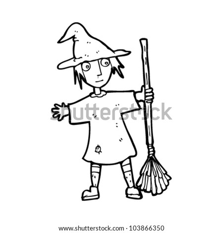 cartoon witch with broom