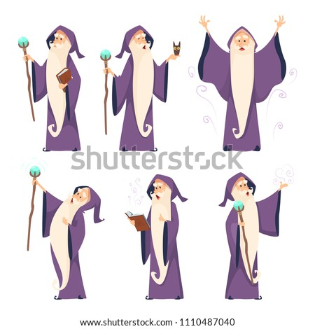 Cartoon wizard character in various poses. Magician sorcerer with wand, witchcraft and spell, vector illustration Foto stock ©