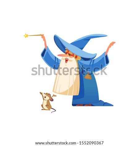 Cartoon wizard character. Old witch man in wizards robe, magician warlock and magic medieval sorcerer merlin, male witchcraft in hat and mantle Mystery isolated vector cartoon, flat illustration Сток-фото ©