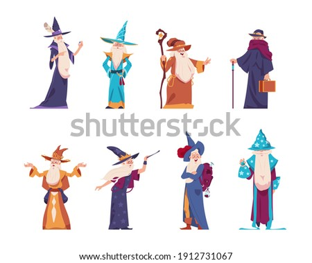 Cartoon wizard. Magician old characters with beard wear long robes and pointed hats. Senior wise sorcerers cast magical spells. Cheerful warlocks hold mystery magic tools. Vector medieval wizards set Foto stock ©