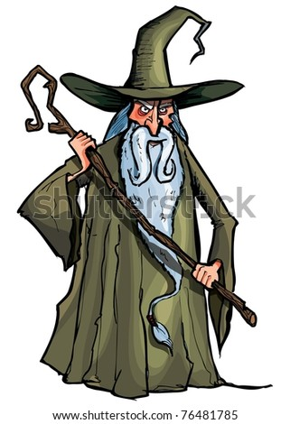 Cartoon Wizard with staff. Isolated on white