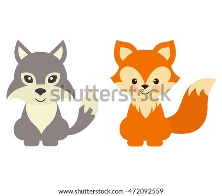 cartoon wolf and fox