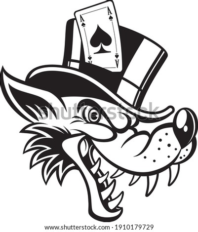 cartoon wolf with top hat and ace of spades Foto stock ©