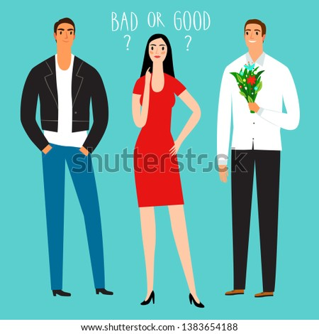 Cartoon woman and two men. Good guy and bad guy. Love and relationship issues. Characters illustrations for your design.